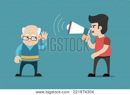 Young man shouting with megaphone at hearing impaired senior man. Concept for deafness, hearing impairment, hearing loss etc. Vector art on isolated background.