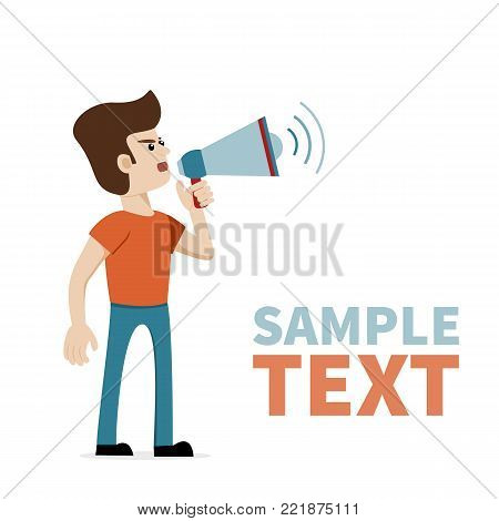 A caucasian man shouting with megaphone. Vector art on isolated background with place for text. Illustration for public announcement, advertising, communication, protesting, important message etc.