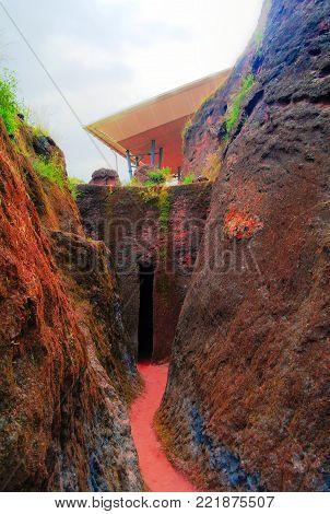 Path between Bete Amanuel and Bete Abba Libanos roch-hewn Churches at Lalibela, Ethiopia