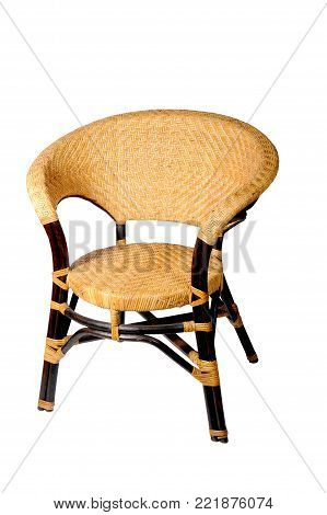 brown rattan chair isolate on white background