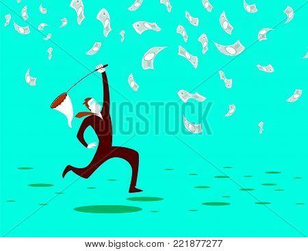 Catches a net cash. Metaphor. Vector illustration