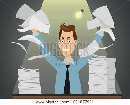Funny happy vector cartoon character - office worker sitting behind the table with a lot of paperwork