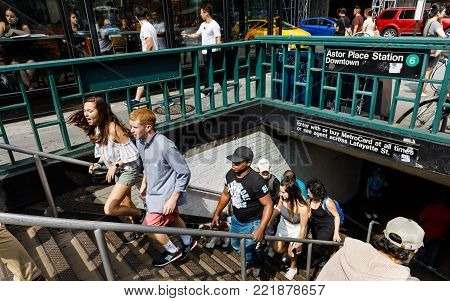 Group Of People Coming Out From Nyc Subway Station
