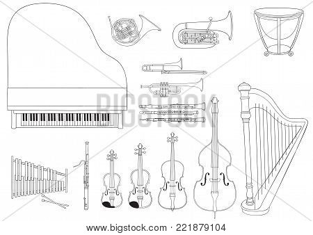Vector set of Symphony Orchestra musical instruments