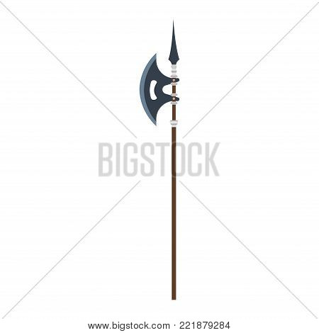 Vector poleaxe weapon medieval illustration icon isolated symbol ancient history. Military battle axe blade knight design