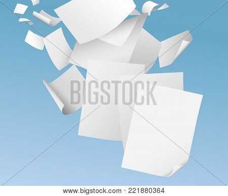 Flying blank papers on blue sky vector illustration - paperwork, office documents of flyers concept