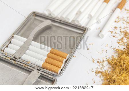 Cigarette metal box for tobacco and paper rolling cigarette