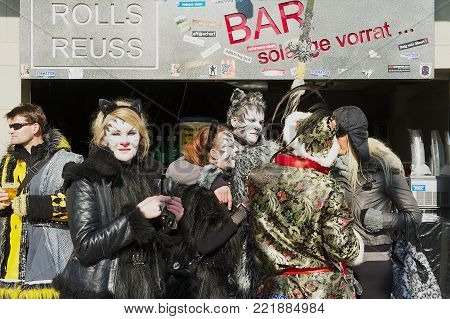 LUCERNE, SWITZERLAND - FEBRUARY 20, 2012: Unidentified young people take part in carnival in Lucern, Switzerland.