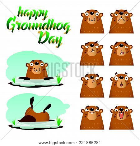 Happy Groundhog Day. Lettering text. Set of marmots on white background. Vector illustration.