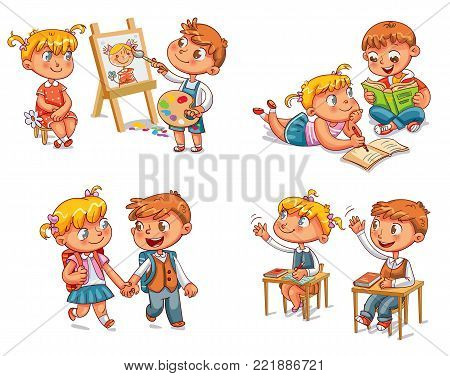Students put hand up in class room. Girl and boy doing homework together. Schoolboy and schoolgirl go to school holding hands. Boy paints portrait of girl. Funny cartoon character. Vector illustration