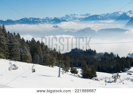 LUCERN, SWITZERLAND - FEBRUARY 21, 2012: View to the ski slope at the Pilatus mountain in Lucern, Switzerland.