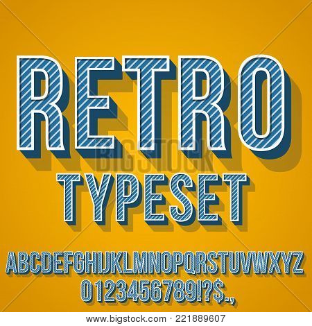 Retro Blue Colored Vintage Text 3D Effects, Font Typeset Vector lettering set