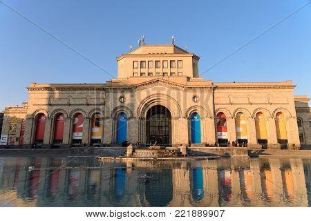 YEREVAN, ARMENIA - APRIL 3: History Museum of Armenia in evening light located at the Republic Square April 3, 2017 in Yerevan, Armenia.