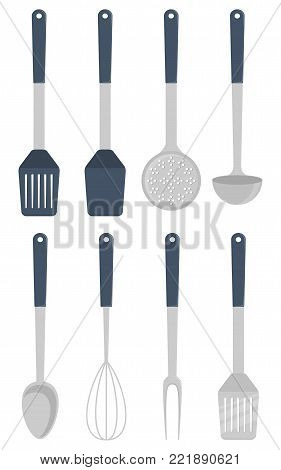 Kitchen utensils, set. Ladle, spatula, whisk skimmer spoon vector illustration isolated