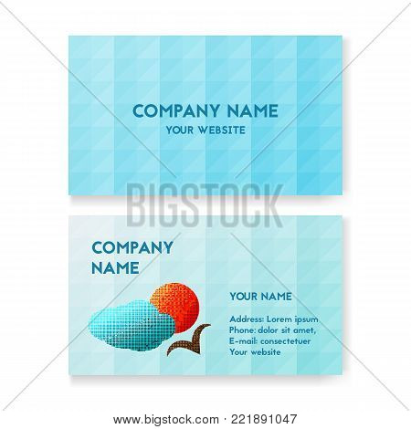 Template business card for travel Agency. Layout for print, vector illustration. The bird flies in the sky with clouds. The concept of tours and travels.