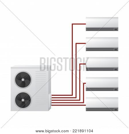 The air conditioning system vector illustration. Multi split. One outdoor and five indoor unit. Air handler