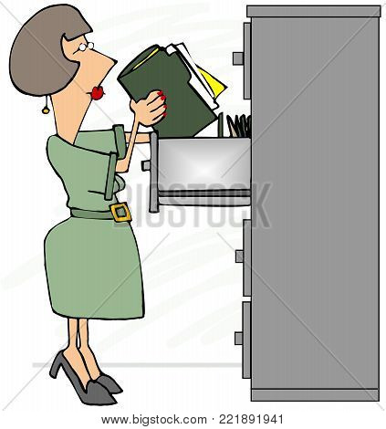 Illustration of a female file clerk standing on her tip-toes looking at the top drawer.