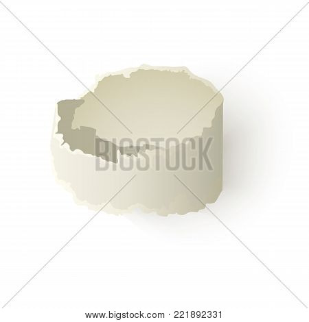 Vector set of torn paper, blank twisted scrap. Notebook paper sheet with ripped edges for your design. Realistic isolated illustration on a white background.