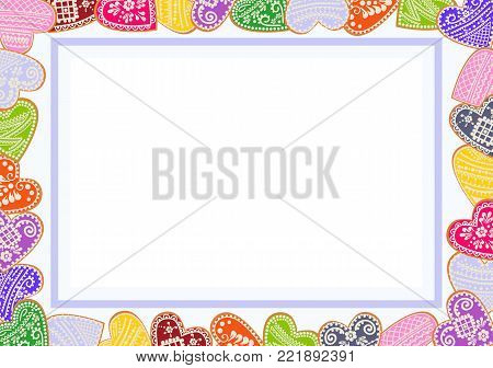 Valentine poster with frame of decorated gingerbread cookies in shape of heart with place for text. Suitable for lovers' entries, invitations, congratulations, decorating envelopes. Concept of writing to Day of Lovers.