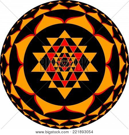 Sacred Indian Geometry Mystical Meditative Diagram Symbol - Vector Sri Yantra