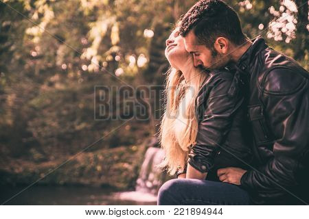 Young Couple Love Moments In The Park