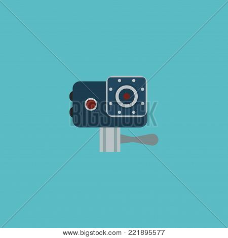 Icon flat action cam element. Vector illustration of icon flat camera isolated on clean background. Can be used as action, cam and record symbols.