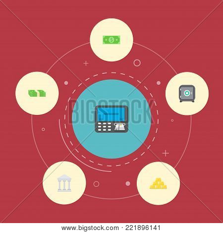 Icons flat style teller machine, safe, gold bars and other vector elements. Set of banking icons flat style symbols also includes money, bank, safe objects.