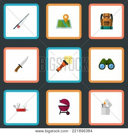 Icons flat style pocket torch, binoculars, clash knife and other vector elements. Set of camping icons flat style symbols also includes lighter, knife, location objects.