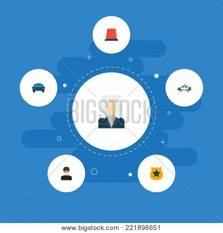 Icons flat style flasher siren, cop car, judge and other vector elements. Set of criminal icons flat style symbols also includes police, car, automobile objects.