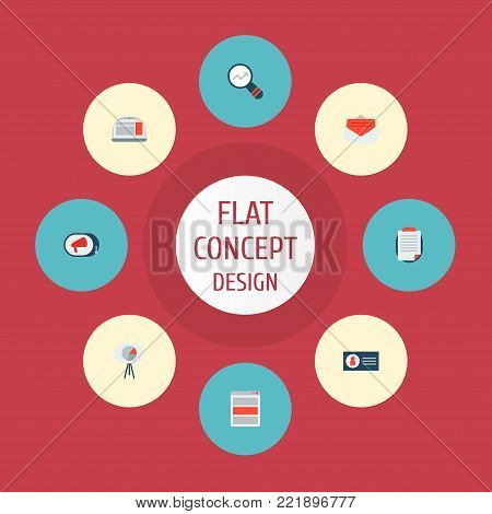 Icons flat style campaign, ad banner, email promotion and other vector elements. Set of advertising icons flat style symbols also includes ad, advertising, campaign objects.