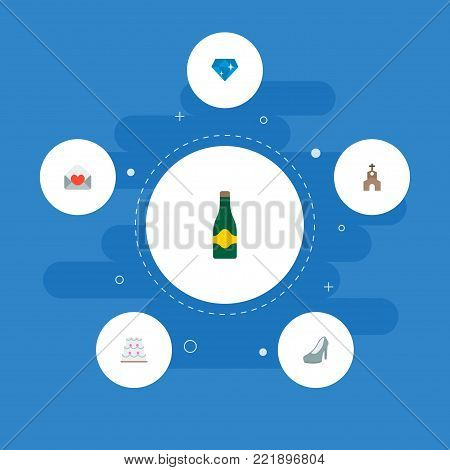 Icons flat style wedding cake, heeled shoes, invitation and other vector elements. Set of engagement icons flat style symbols also includes brilliant, card, fizz objects.