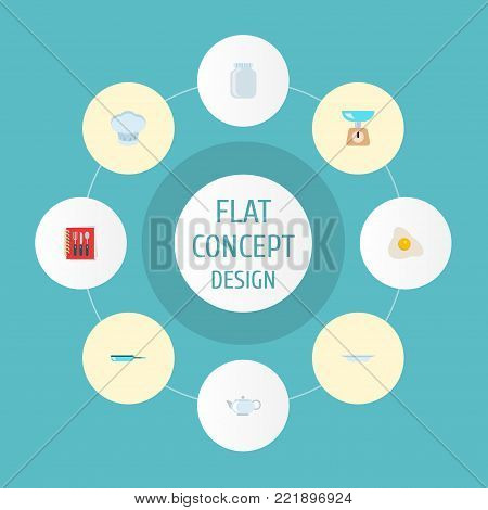 Icons flat style jar, kettle, recipe book and other vector elements. Set of cooking icons flat style symbols also includes dishware, kettle, fried objects.