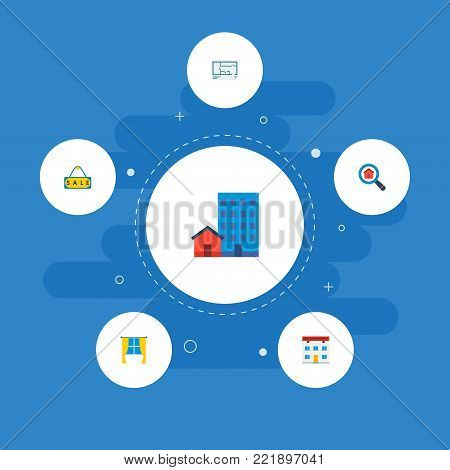 Icons flat style window, sale sign, office and other vector elements. Set of realestate icons flat style symbols also includes sale, discount, options objects.