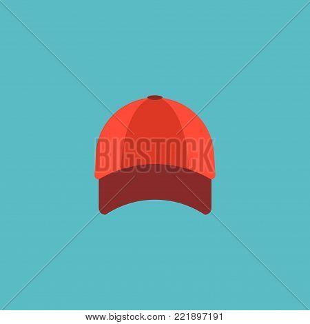 Baseball cap icon flat element.  illustration of baseball cap icon flat isolated on clean background for your web mobile app logo design.