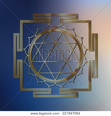 Sacred Indian Geometry Mystical Meditative Diagram Symbol - Vector Durga Yantra