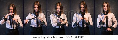 Woman teachs or learns how to knot a tie. Set of photos showing process in detail. Helpful and detailed tutorial concept