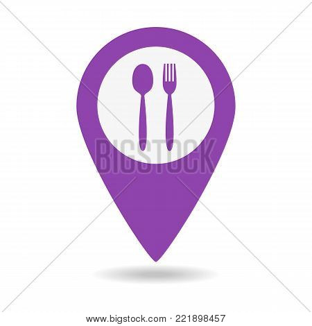 Map Marker Location With Fork And Spoon.
