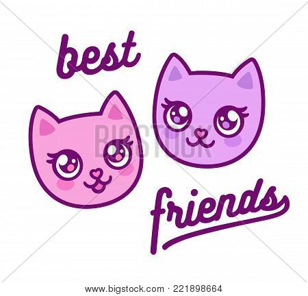 Two cute anime kitties, best friends forever. Cartoon pink cat faces drawing with text. Vector illustration.