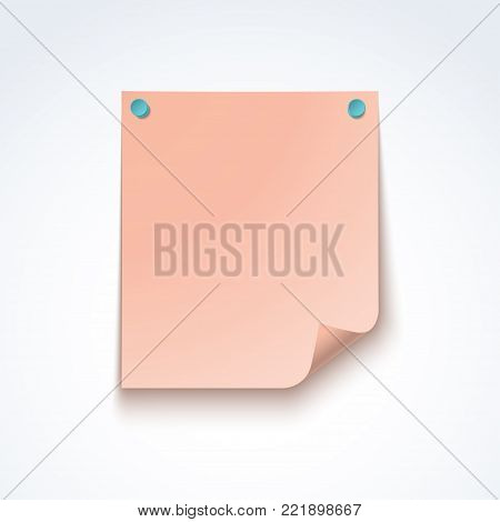Pink blank post note paper sheet fixed with push pins isolated on white background. Vector mockup