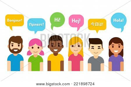 International group of people saying Hi in different languages. Diverse cartoon characters, flat vector style illustration. Learning, education and communication design element.