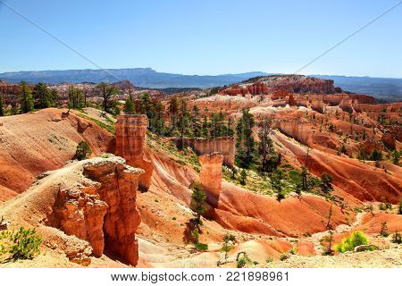Martian red landscape along Queen's Trail in Bryce Canyon National Park
