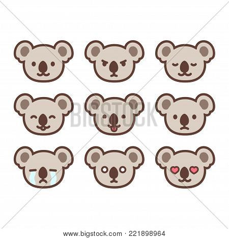 Set of cute koala emoticons with different expressions. Funny emoji faces. Simple cartoon vector illustration.