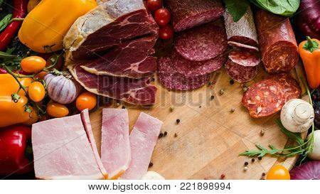 Great selection of jerked, meat salami and ham. Delicious food to make tasty sandwiches concept