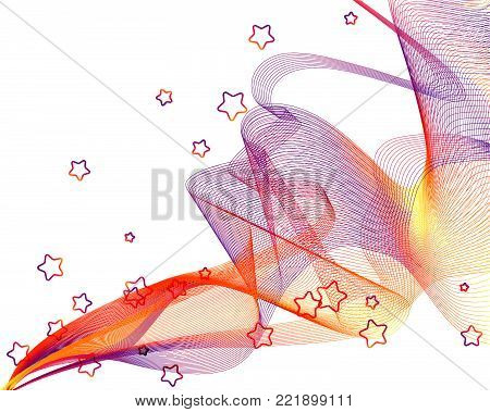 Abstract Festive Transparent Wavy Veil Background -  Vector Billowy Lines Net with Five-Pointed Stars