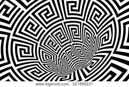 Geometric Black and White Abstract Hypnotic Worm-Hole Tunnel - Optical Illusion - Vector Illusion Meander Patterned Op Art poster