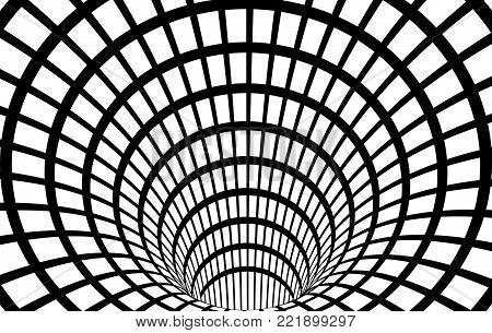 Geometric Black and White Abstract Hypnotic Worm-Hole Tunnel - Optical Illusion - Vector Illusion Checkered Optical Art