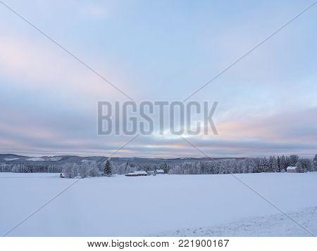 Swedish Lapland in winter, sky in morning