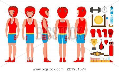 Male Exercising Boxing Vector. Active Sport Lifestyle. Athlete In Action. Cartoon Character Illustration