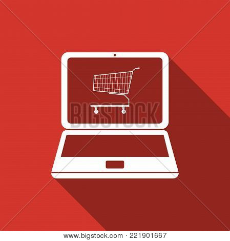 Online shopping concept. Shopping cart on screen laptop icon isolated with long shadow. Concept e-commerce, e-business, online business marketing. Flat design. Vector Illustration