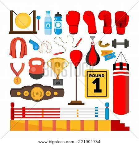 Boxing Equipment Tools Set Vector. Box Accessories. Boxer, Ring, Belt, Punch Bags, Red Gloves, Helmet Isolated Cartoon Illustration